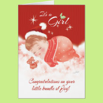 Congratulations. December Born Baby Girl Card