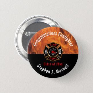Congratulations Firefighter Flames Class | Name Button