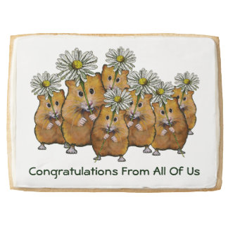 Congratulations From All: Hamsters, Daisies, Art Shortbread Cookie