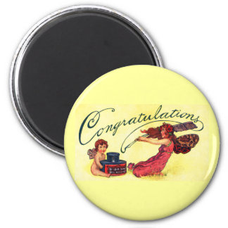 Congratulations From Fairies 2 Inch Round Magnet