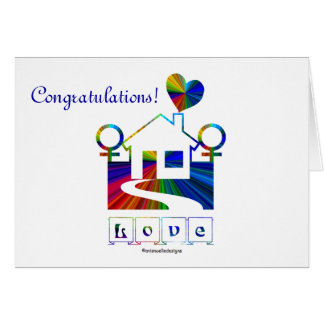 Congratulations -Gay Marriage Rainbow House Quote Card