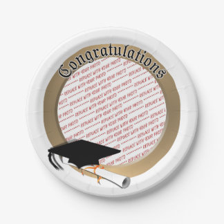 'Congratulations' Gold Graduation Photo Frame Paper Plate