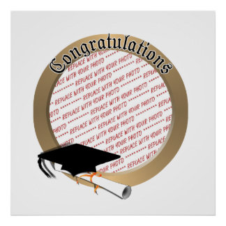 'Congratulations' Gold Graduation  Photo Frame Poster