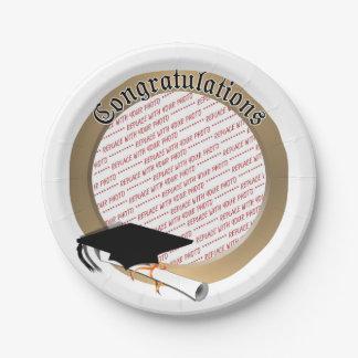 'Congratulations' Gold Graduation Photo Frame 7 Inch Paper Plate