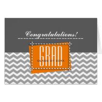 Congratulations Grad. Chevron Pattern Custom Cards