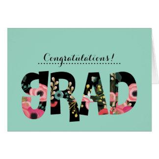 Congratulations Grad. Floral Design Custom Cards