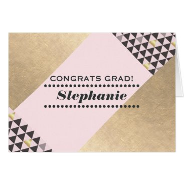 USA Themed Congratulations Grad. Geometric Design Custom Card