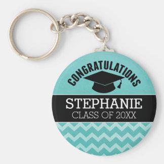 Congratulations Graduate - Aqua Black Graduation Keychain
