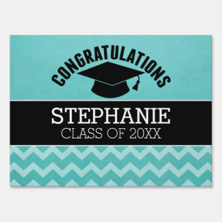 Congratulations Graduate - Aqua Black Graduation Yard Sign
