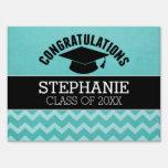Congratulations Graduate - Aqua Black Graduation Lawn Signs