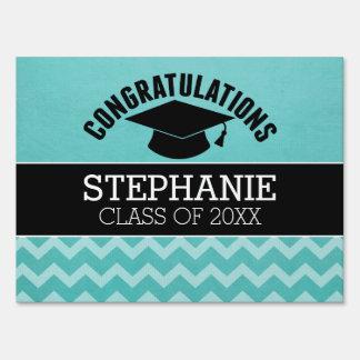Congratulations Graduate - Aqua Black Graduation Sign