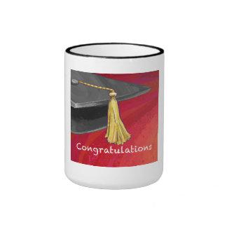 Congratulations Graduate Black and Red Ringer Coffee Mug