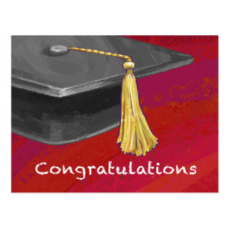 Congratulations Graduate Black and Red Postcard