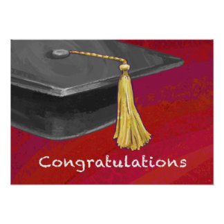 Congratulations Graduate Black and Red Poster
