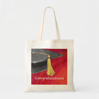 Congratulations Graduate Black and Red Tote Bag