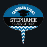 "Congratulations Graduate - Blue Black Graduation Cake Topper<br><div class=""desc"">Add 2018,  2019 or any year to personalize this whimsical design. This can be used for any graduate - high school,  college,  grad school,  med school or even trade school.</div>"