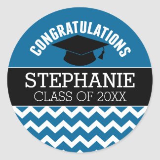 Congratulations Graduate - Blue Black Graduation Classic Round Sticker
