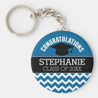 Congratulations Graduate - Blue Black Graduation Keychain