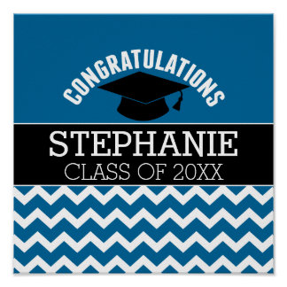 Congratulations Graduate - Blue Black Graduation Poster