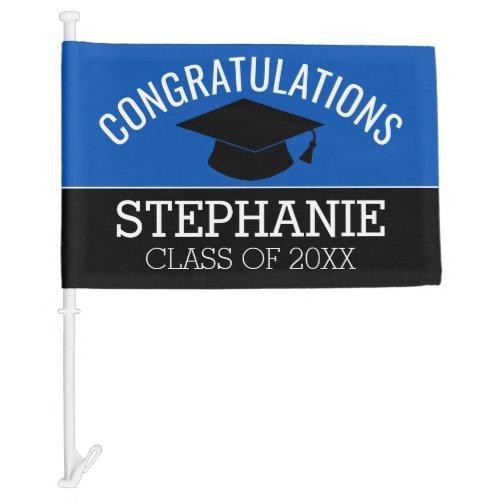 Congratulations Graduate Blue Drive By Graduation Car Flag