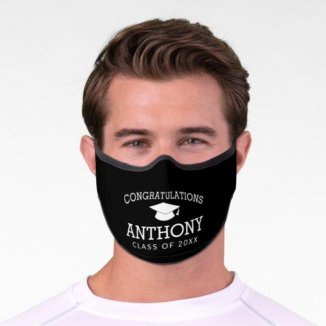 Congratulations Graduate Calligraphy black white Premium Face Mask