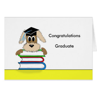 Congratulations Graduate Dog on Book Stack Card