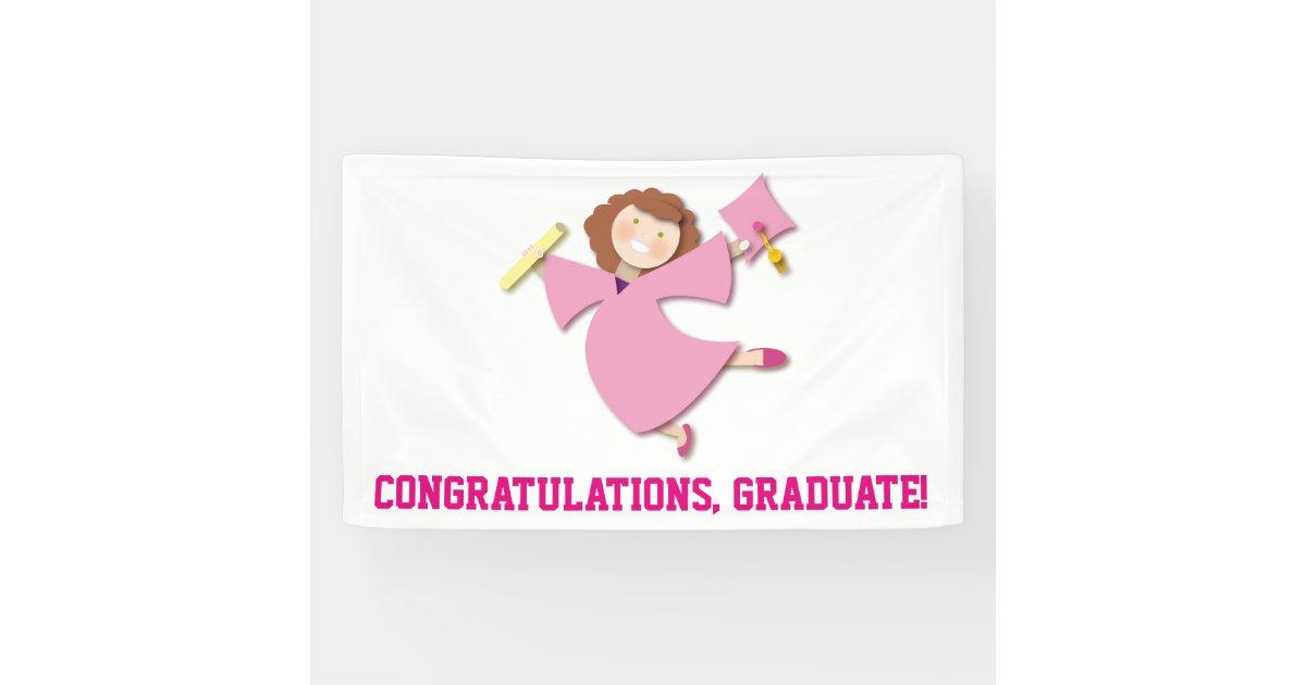 Congratulations Graduate Girl Pink Cap & Gown Banner   Zazzle.com