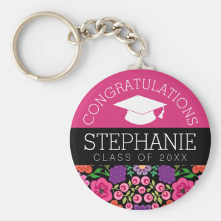 Congratulations Graduate Girly Flowers Graduation Keychain