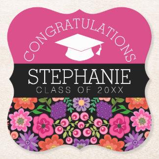 Congratulations Graduate Girly Flowers Graduation Paper Coaster
