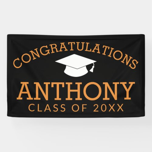 Congratulations Graduate Graduation Black Orange Banner