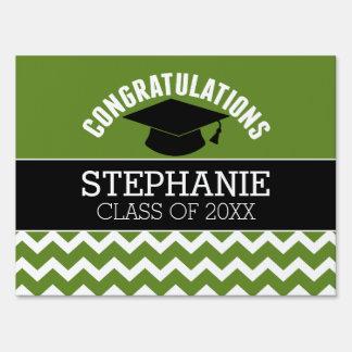 Congratulations Graduate - Green Black Graduation Yard Sign