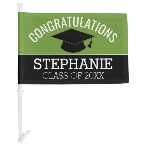 Congratulations Graduate Green Drive By Graduation Car Flag