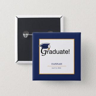 Congratulations Graduate, Hat, Tassel, Blue, Gold Pinback Button