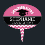 """Congratulations Graduate - Personalized Graduation Cake Topper<br><div class=""""desc"""">Add 2018,  2019 or any year to personalize this whimsical design. This can be used for any graduate - high school,  college,  grad school,  med school or even trade school.</div>"""