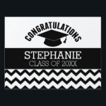 "Congratulations Graduate - Personalized Graduation Sign<br><div class=""desc"">Add 2018,  2019 or any year to personalize this whimsical design. This can be used for any graduate - high school,  college,  grad school,  med school or even trade school.</div>"