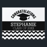 """Congratulations Graduate - Personalized Graduation Sign<br><div class=""""desc"""">Add 2018,  2019 or any year to personalize this whimsical design. This can be used for any graduate - high school,  college,  grad school,  med school or even trade school.</div>"""