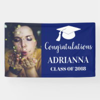 Congratulations Graduate Photo Navy Blue Banner