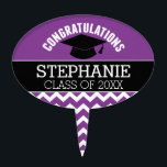 """Congratulations Graduate - Purple Black Graduation Cake Topper<br><div class=""""desc"""">Add 2018,  2019 or any year to personalize this whimsical design. This can be used for any graduate - high school,  college,  grad school,  med school or even trade school.</div>"""