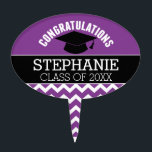 "Congratulations Graduate - Purple Black Graduation Cake Topper<br><div class=""desc"">Add 2018,  2019 or any year to personalize this whimsical design. This can be used for any graduate - high school,  college,  grad school,  med school or even trade school.</div>"