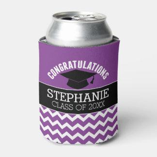 Congratulations Graduate - Purple Black Graduation Can Cooler