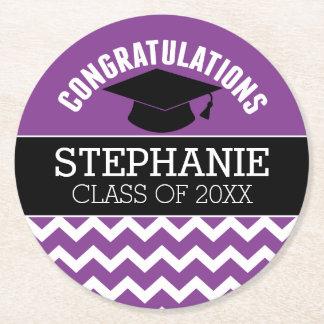 Congratulations Graduate - Purple Black Graduation Round Paper Coaster