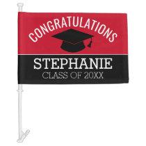 Congratulations Graduate - Red Black Graduation Car Flag