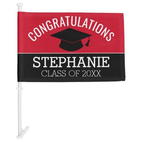 Congratulations Graduate _ Red Black Graduation Car Flag