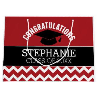 Congratulations Graduate - Red Black Graduation Large Gift Bag