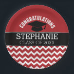"Congratulations Graduate - Red Black Graduation Paper Plate<br><div class=""desc"">Add 2018,  2019 or any year to personalize this whimsical design. This can be used for any graduate - high school,  college,  grad school,  med school or even trade school.</div>"