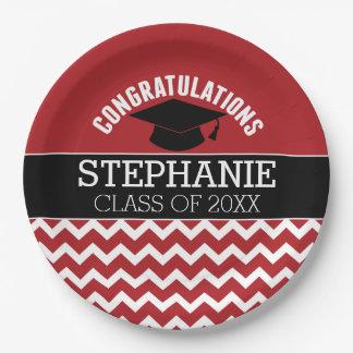 Congratulations Graduate - Red Black Graduation Paper Plate