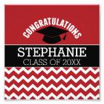 Congratulations Graduate - Red Black Graduation Photo Print