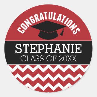 Congratulations Graduate - Red Black Graduation Classic Round Sticker