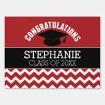 Congratulations Graduate - Red Black Graduation Yard Sign