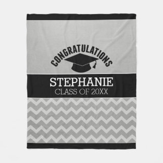 Congratulations Graduate - Silver Black Graduation Fleece Blanket